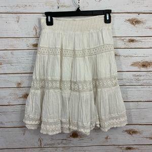 Anthro Edme & Esyllte White Crinkle Crochet Skirt